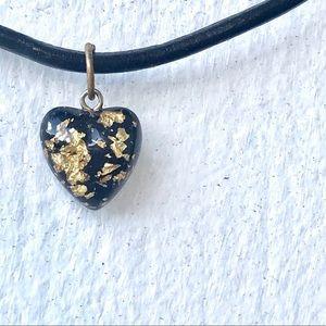24 karat Gold flecks HEART pendant black resin